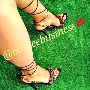 ZARA Animal Print High Heel Strappy Sandals